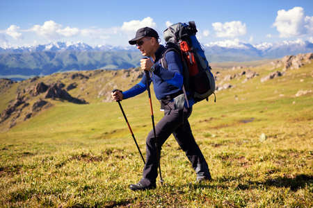 trekking pole: Hiker in mountains at grassland with sky