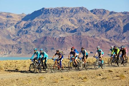 bike trail: ALMATY, KAZAKHSTAN - SEPTEMBER 13: Mountain bikers in action at Adventure mountain bike cross-country marathon