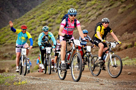 ALMATY, KAZAKHSTAN - MAY 2: Mountain bikers in action at Adventure mountain bike cross-country marathon