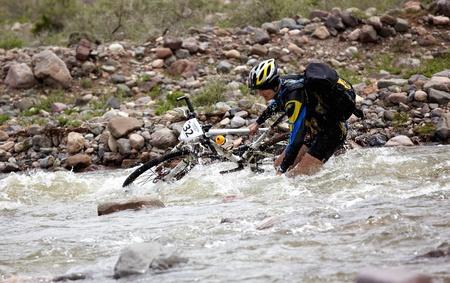 bikercross: ALMATY, KAZAKHSTAN - MAY 3: D.Rahimkulov (N32) in action at Adventure mountain bike cross-country marathon in mountains