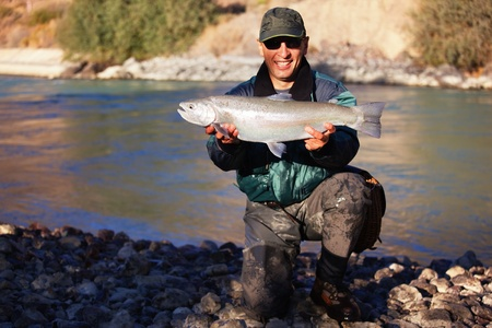wilderness area: Fly-fishing on mountain river