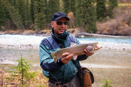 trout: Fly-fishing on mountain river