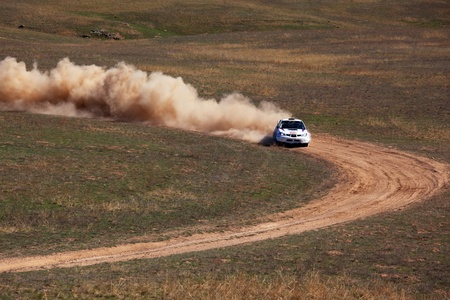 land slide: ALMATY, KAZAKHSTAN - APRIL 9: Sapgov and Shirinya (3) in action at auto competition  Editorial