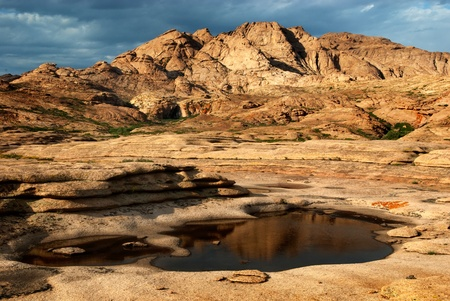 kazakhstan: Desert mountains Bektau-Ata in Kazakhstan after rain Stock Photo