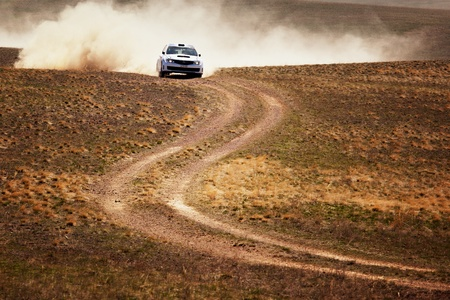ALMATY, KAZAKHSTAN - APRIL 9: Smailov and Rusov (7) in action at auto competition  Stock Photo - 12691043