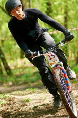 ALMATY, KAZAKHSTAN - APRIL 15: S.Mazolevsky (15*) in action at cross-country relay race April 15, 2012 in Almaty, Kazakhstan. Stock Photo - 13257096