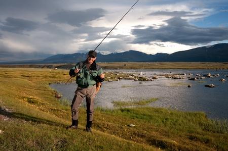 grayling: Fishing on Lake Hoton Nuur in Mongolia Stock Photo