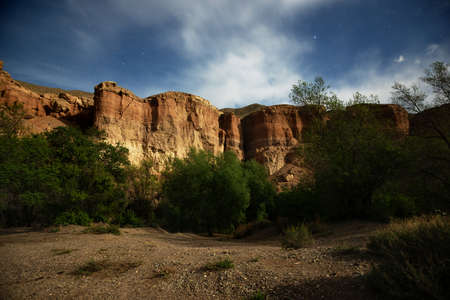 Full moon night in the Canyon of Temirlik river, Kazakhstan photo