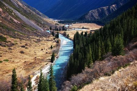 kazakhstan: The Chilik river in Tyan-Shan mountains, Kazakhstan Stock Photo