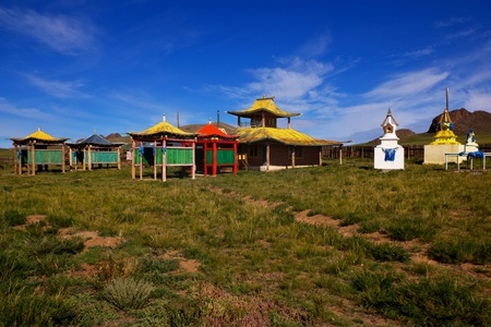 mongolia: A deserted Buddhist temple in the village of Songino in northern Mongolia.