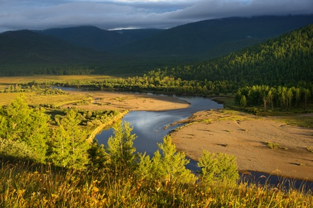 mongolia: The river Uur in northern Mongolia