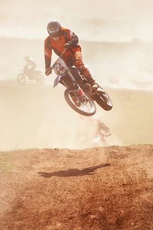 ALMATY, KAZAKHSTAN - APRIL 22 K.Laletin (N44) at the Motocross competition