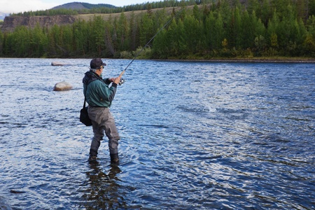 grayling: Fishing on river Shishged in the Mongolia