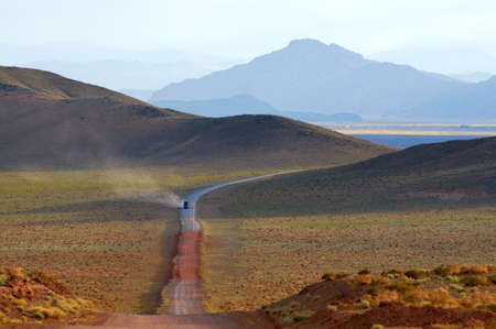 nomad: Track on road in the desert mountain of the Mongolia