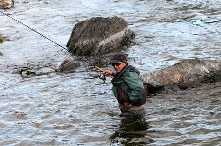 grayling: Fishing on river Shishged in the Mongolia Stock Photo