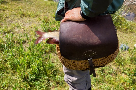 grayling: Fisherman and the fishing basket with a catch trout Stock Photo