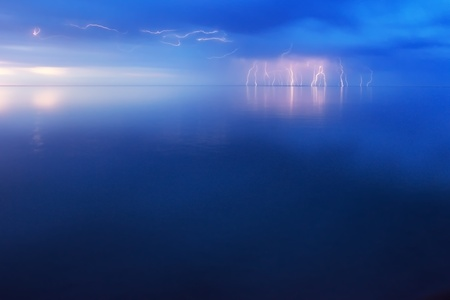 Lightning Storm over big lake Balkhash, Kazakhstan photo