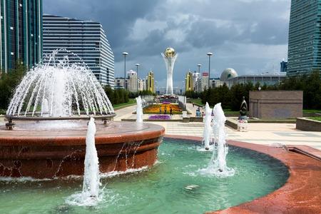astana: ASTANA, KAZAKHSTAN - AUG 13, 2013: A fountain in the center of Astana - national capital of Kazakhstan