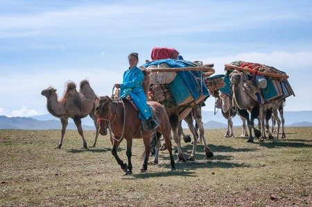 nomad: NORTH MONGOLIA, MONGOLIA - AUG 14, 2012: Caravan of camels transporting dismantled tent of Mongolian nomads to a new location  Editorial