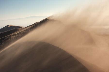 Sandstorm in desert national park Altyn-Emel, Kazakhstan Stock Photo