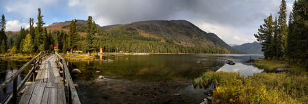 pano: Pano of Rakhmanovskoe lake in East Kazakhstan, Altai mountains