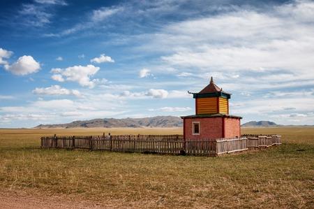 mongolian: Small roadside Buddhist temple in Mongolian steppe