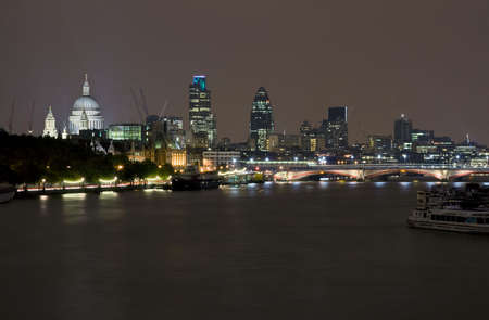 Night scene of London along the river Thames Stock Photo