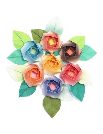 7 origami roses decoration on a white background photo