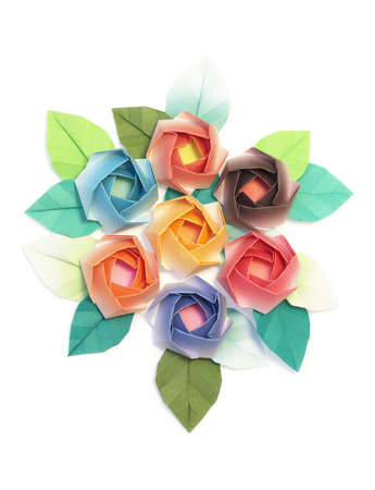 7 origami roses decoration on a white background