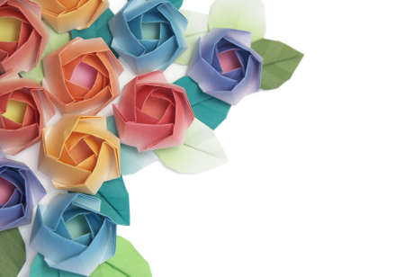 Origami roses decoration on a white background