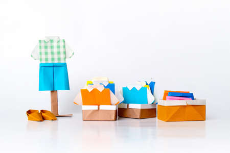 Origami clothing line (paper folding fashion) Stock Photo