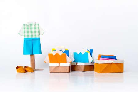 Origami clothing line (paper folding fashion) Stock Photo