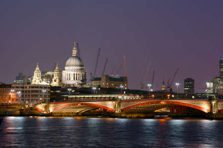 blackfriars bridge: London Blackfriars Bridge with St. Pauls Cathedral on the left-hand side Stock Photo