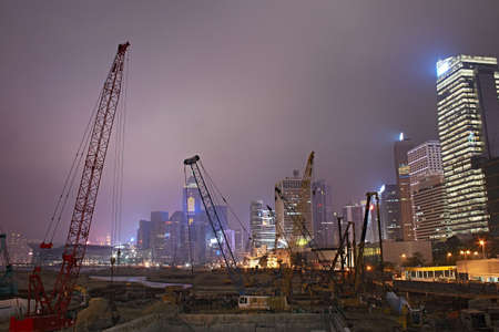 reclamation: A large land reclamation construction site in Central, Hong Kong