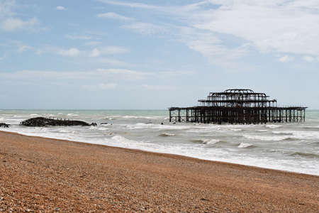 The remains of the West Pier and the Concert Hall of Brighton after an arson attack in 2003