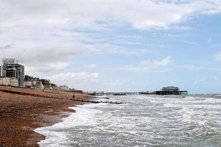 A view of Brighton Beach (Southern coast of Britain)   Stock Photo
