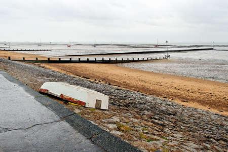 An abandoned boat on a rainy day (Three Shells Beach, Southend-on Sea)