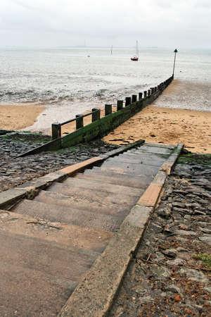Rainy weather, Three Shells Beach (Southend-on Sea, Essex)  Stock Photo