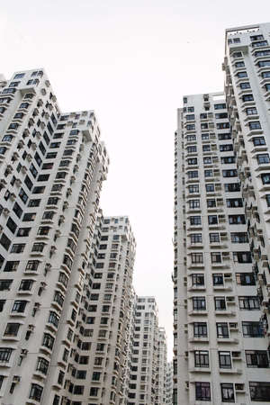 Tall apartment buildings in Hong Kong photo