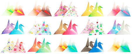 Side view of 30 paper cranes isolated on a white background
