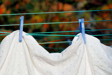 Drying bed linen in fresh air