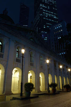 Night view of the Hong Kong Legislative Council Building (Former Supreme Court Building until 1985) with the statue of Justice on top but unilluminated