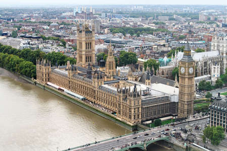 aerial city: Aerial view of Big Ben and House of Parliament Stock Photo