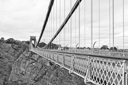 Designed by Isambard Kingdom Brunel, the Clifton Suspension Bridge is one of the major landmarks in Bristol and is also a well known suicide bridge  Stock Photo
