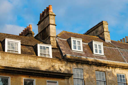 Roofs, chimneys and windows of the Georgian city Bath, Britain