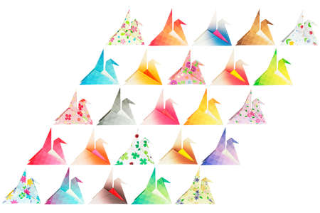 Paper folded birds arranged in a parallelogram shape and isolated on a white background   Stock Photo