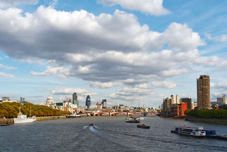 Big cloudscape over River Thames and Blackfriars Bridge, London