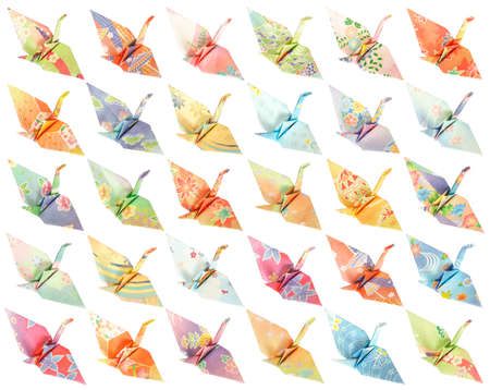 30 different paper birds isolated on a white background