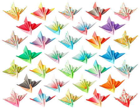 32 different paper birds isolated on a white background