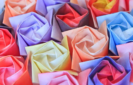 Close-up of colourful paper roses. Shallow depth of field. Stock Photo